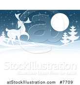 Vector Illustration of a Buck Deer in a Hilly Winter Landscape Under a Full Moon at Night by AtStockIllustration