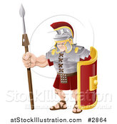 Vector Illustration of a Buff Roman Soldier with a Shield and Spear by AtStockIllustration