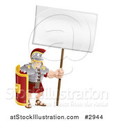 Vector Illustration of a Buff Roman Soldier with a Sign by AtStockIllustration