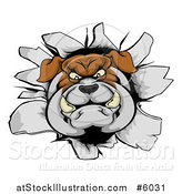 Vector Illustration of a Bulldog Breaking Through a Wall by AtStockIllustration