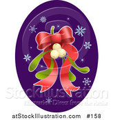 Vector Illustration of a Bunch of Mistletoe with a Red Ribbon Bow and Snowflakes by AtStockIllustration