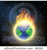 Vector Illustration of a Burning Earth Globe with Bright Flames Against Outer Space by AtStockIllustration