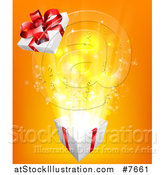 Vector Illustration of a Bursting Gift Box over Orange by AtStockIllustration
