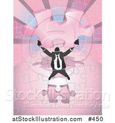 Vector Illustration of a Business Man Holding up a Final Piece to a Pink Jigsaw Puzzle Before Completing It by AtStockIllustration