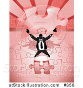 Vector Illustration of a Business Man Holding up the Final Piece of a Red Jigsaw Puzzle Before Completing It by AtStockIllustration