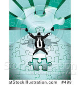 Vector Illustration of a Business Man Holding up the Final Piece to a Green Jigsaw Puzzle Before Completing It by AtStockIllustration