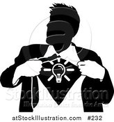 Vector Illustration of a Business Man Ripping Open His Shirt to Show a Light Bulb by AtStockIllustration