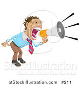 Vector Illustration of a Business Man Screaming into a Megaphone by AtStockIllustration