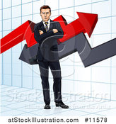 Vector Illustration of a Business Man Standing with Folded Arms in Front of Stock Market Arrows by AtStockIllustration