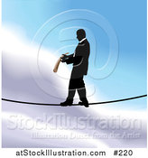 Vector Illustration of a Business Man Walking on a Tightrope over Sky by AtStockIllustration