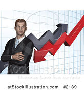 Vector Illustration of a Business Man with Folded Arms, Against a Graph by AtStockIllustration