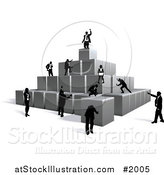 Vector Illustration of a Business Team Building a Pyramid with Blocks by AtStockIllustration