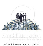 Vector Illustration of a Business Team on a Chess Board, up Against Game Pieces by AtStockIllustration