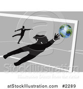 Vector Illustration of a Businessman Goalie Leaping for a Soccer Ball by AtStockIllustration