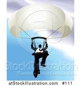 Vector Illustration of a Businessman Holding on to a Parachute by AtStockIllustration