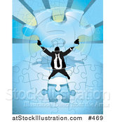 Vector Illustration of a Businessman Holding up the Final Piece to a Blue Jigsaw Puzzle Before Completing It by AtStockIllustration