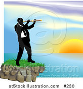 Vector Illustration of a Businessman Looking Through a Telescope Across a Waterscape by AtStockIllustration