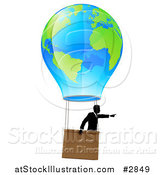 Vector Illustration of a Businessman Pointing and Floating in a World Hot Air Balloon by AtStockIllustration