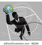 Vector Illustration of a Businessman Slam Dunking a Globe Basketball by AtStockIllustration