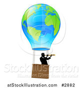 Vector Illustration of a Businessman Viewing Through a Spyglass in a World Hot Air Balloon by AtStockIllustration