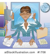 Vector Illustration of a Busy Multi Tasking African American Assistant Secretary Woman Typing, Filing, Organizing and Taking Phone Calls by AtStockIllustration