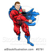 Vector Illustration of a Cacuasian Muscular Super Hero Man Running and Punching by AtStockIllustration