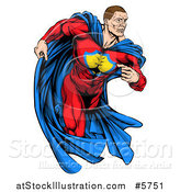 Vector Illustration of a Cacuasian Muscular Super Hero Man Running by AtStockIllustration