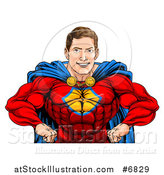 Vector Illustration of a Cacuasian Muscular Super Hero Man with Hands on His Hips by AtStockIllustration