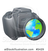 Vector Illustration of a Camera with a Globe in the Lens by AtStockIllustration