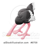 Vector Illustration of a Cartoon African Safari Ostrich Bird with Its Head in the Dirt by AtStockIllustration