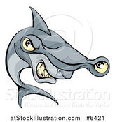 Vector Illustration of a Cartoon Aggressive Grinning Hammerhead Shark by AtStockIllustration