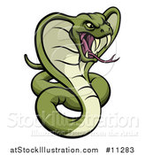 Vector Illustration of a Cartoon Angry Green King Cobra Snake by AtStockIllustration