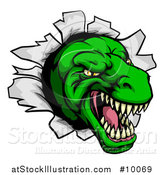 Vector Illustration of a Cartoon Angry Green Tyrannosaurus Rex Dino Head Breaking Through a Wall by AtStockIllustration