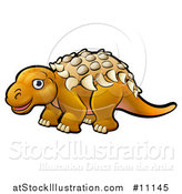 Vector Illustration of a Cartoon Ankylosaurus Dino by AtStockIllustration
