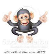 Vector Illustration of a Cartoon Black and Tan Happy Baby Chimpanzee Monkey Giving a Thumb up and Pointing by AtStockIllustration