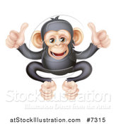 Vector Illustration of a Cartoon Black and Tan Happy Baby Chimpanzee Monkey Giving Two Thumbs up by AtStockIllustration