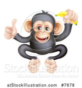 Vector Illustration of a Cartoon Black and Tan Happy Baby Chimpanzee Monkey Holding a Banana and Giving a Thumb up by AtStockIllustration