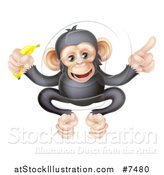 Vector Illustration of a Cartoon Black and Tan Happy Baby Chimpanzee Monkey Holding a Banana and Pointing by AtStockIllustration
