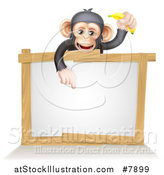 Vector Illustration of a Cartoon Black and Tan Happy Baby Chimpanzee Monkey Holding a Banana and Pointing down over a Blank White Sign Framed in Wood by AtStockIllustration