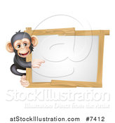 Vector Illustration of a Cartoon Black and Tan Happy Baby Chimpanzee Monkey Pointing Around a Blank White Sign Framed in Wood by AtStockIllustration