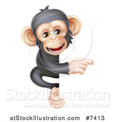 Vector Illustration of a Cartoon Black and Tan Happy Baby Chimpanzee Monkey Pointing Around a Sign by AtStockIllustration