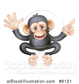 Vector Illustration of a Cartoon Black and Tan Happy Baby Chimpanzee Monkey Waving and Pointing by AtStockIllustration