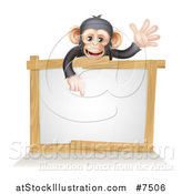 Vector Illustration of a Cartoon Black and Tan Happy Baby Chimpanzee Monkey Waving and Pointing down over a Blank White Sign Framed in Wood by AtStockIllustration