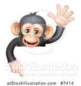 Vector Illustration of a Cartoon Black and Tan Happy Baby Chimpanzee Monkey Waving and Pointing down over a Sign by AtStockIllustration