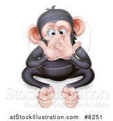 Vector Illustration of a Cartoon Black and Tan Speak No Evil Wise Monkey Covering His Mouth by AtStockIllustration