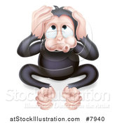 Vector Illustration of a Cartoon Black Hear No Evil Wise Monkey Covering His Ears by AtStockIllustration