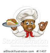 Vector Illustration of a Cartoon Black Male Chef Holding a Souvlaki Kebab Sandwich on a Tray and Gesturing Perfect by AtStockIllustration