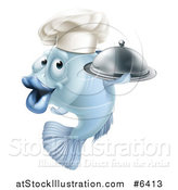 Vector Illustration of a Cartoon Blue Chef Fish Holding a Cloche Platter by AtStockIllustration