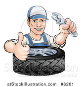 Vector Illustration of a Cartoon Brunette White Mechanic Man Holding an Adjustable Wrench and Thumb up over a Tire by AtStockIllustration