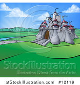 Vector Illustration of a Cartoon Castle in a Hilly Landscape at Sunrise by AtStockIllustration